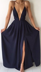 dress,cute,girly,girl,girly wishlist,maxi dress,maxi,cute dress,v neck,v neck dress,backless,navy