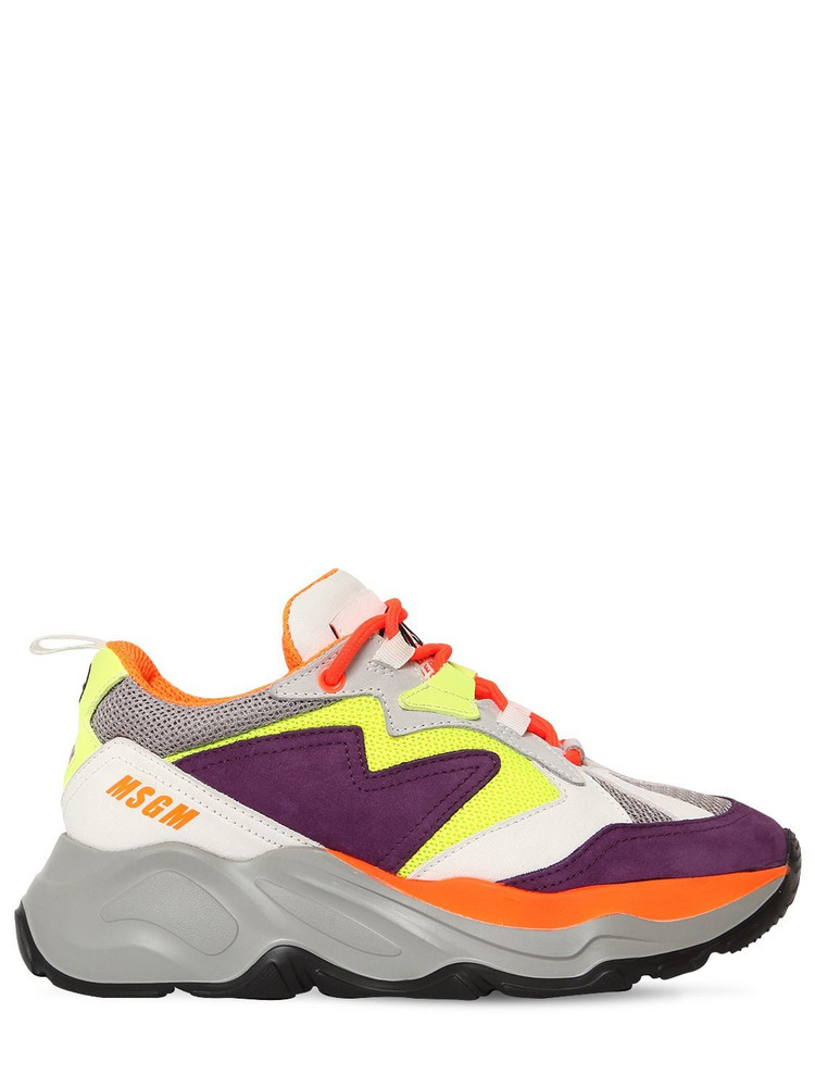 MSGM 50mm Attack Mesh & Suede Sneakers in violet / yellow