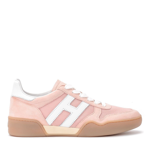 Hogan H357 Pink Suede And Fabric Sneaker