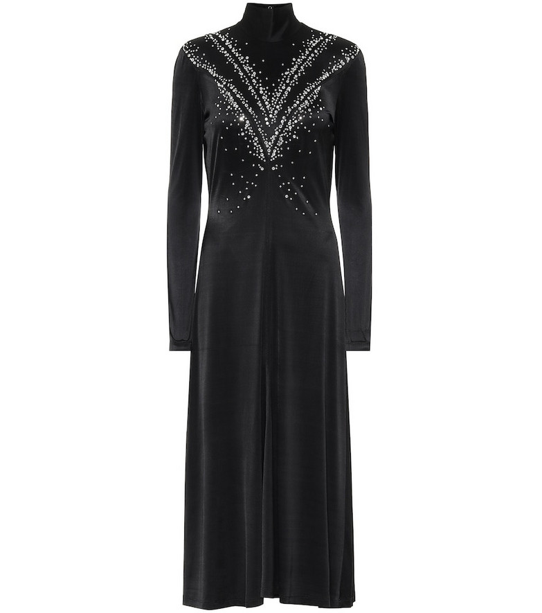 Paco Rabanne Embellished satin midi dress in black