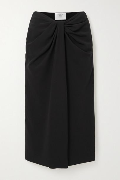 VALENTINO - Knotted Silk-blend Cady Midi Skirt - Black