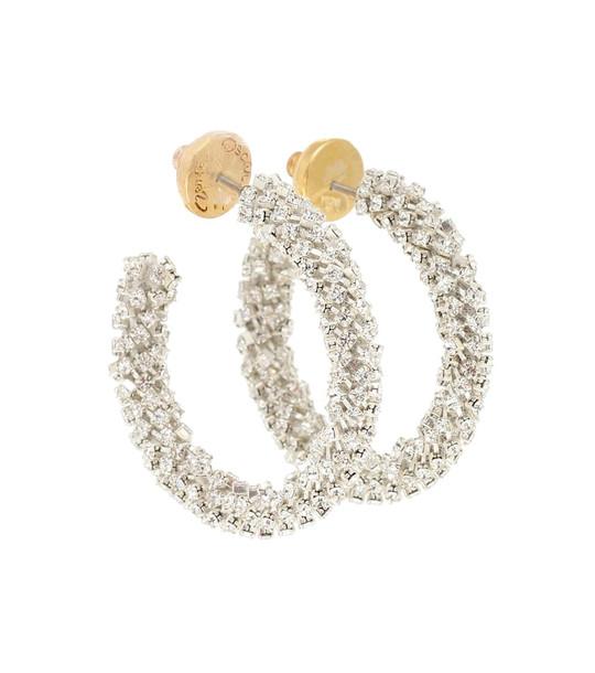 Oscar de la Renta Crystal-embellished hoop earrings in metallic