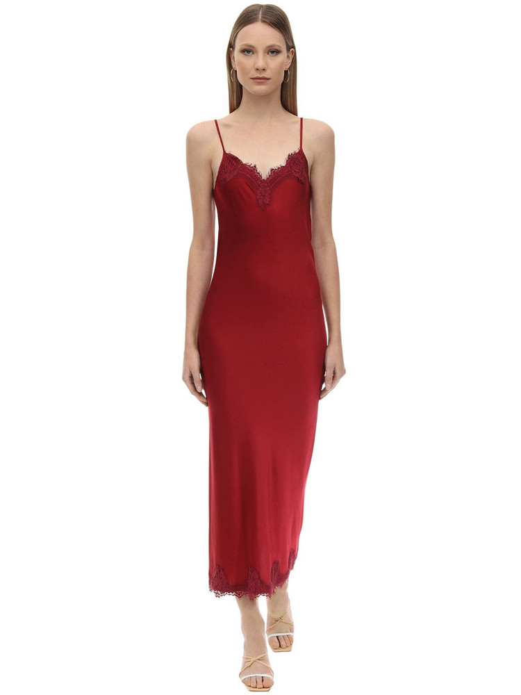 PINK MEMORIES Long Viscose Satin & Lace Dress in red