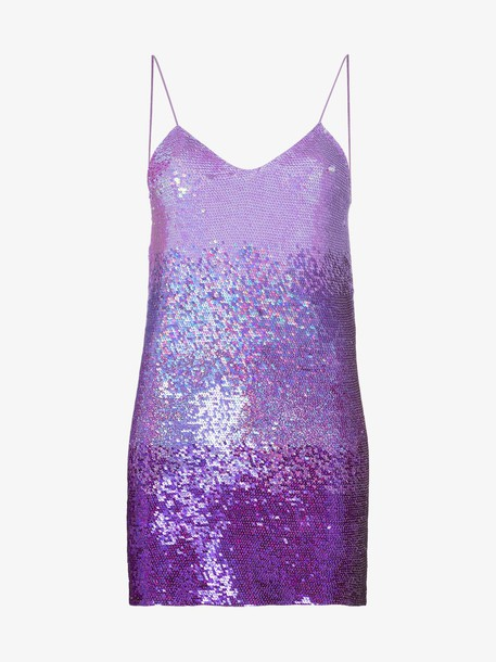 Ashish X Browns ombre sequin spaghetti strap mini dress in brown / purple