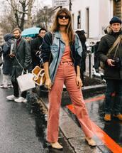 pants,wide-leg pants,high waisted pants,boots,denim jacket,shearling,brown bag,top