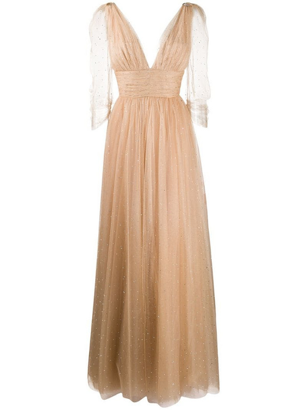 Maria Lucia Hohan Leila crystal-embellished tulle gown in neutrals