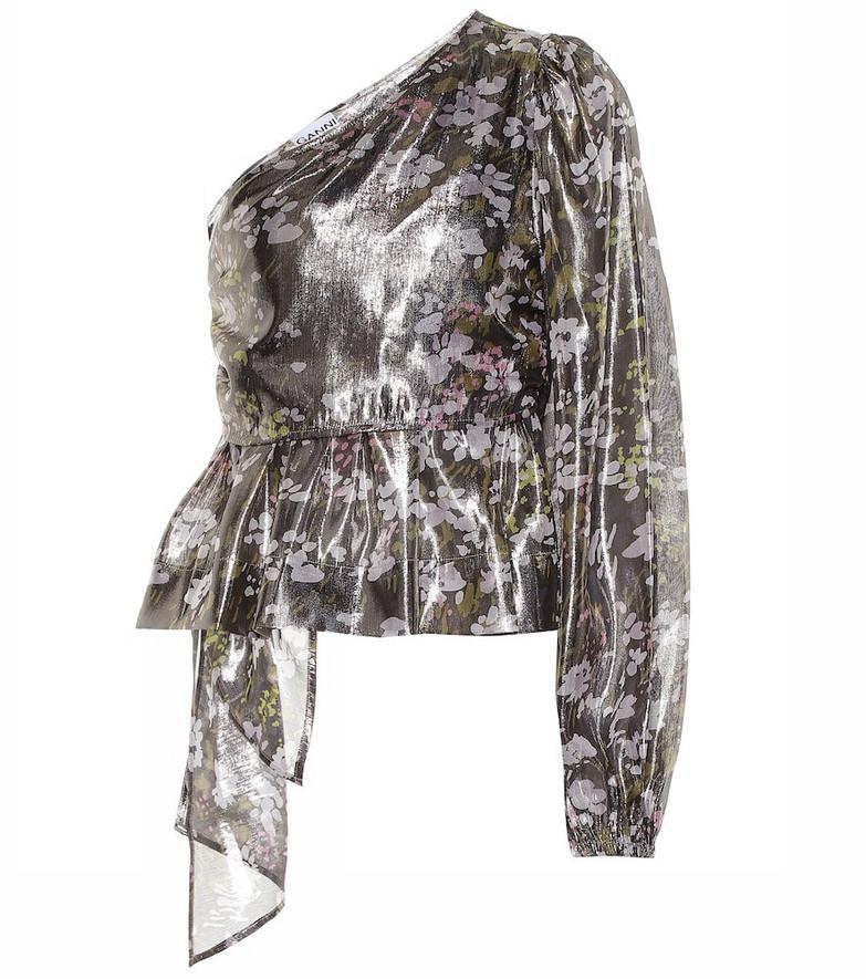 Ganni Floral silk one-shoulder top in metallic