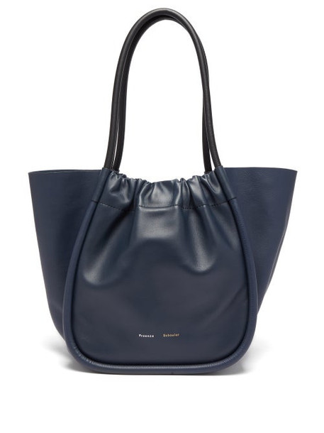 Proenza Schouler - Ruched L Leather Tote Bag - Womens - Navy