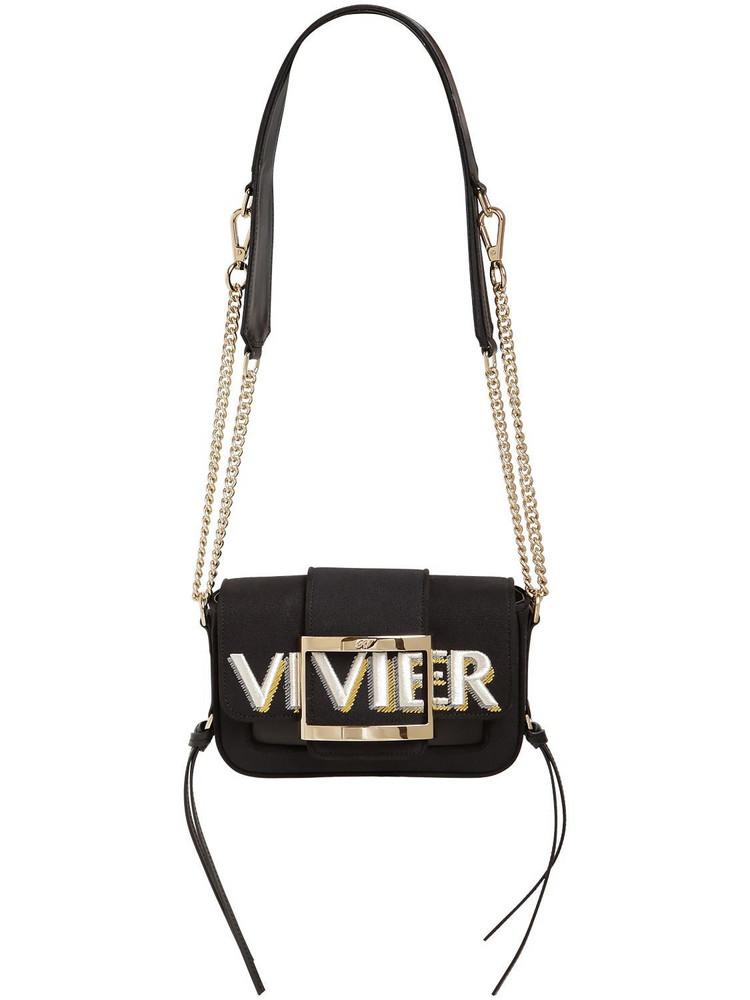 ROGER VIVIER Micro Trevivier Logo Canvas & Leather Bag in black