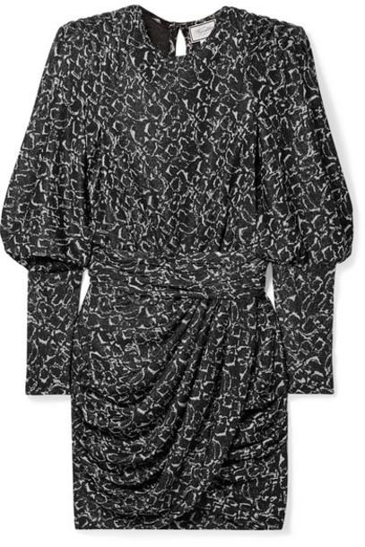 Redemption - Draped Metallic Jacquard Mini Dress - Silver