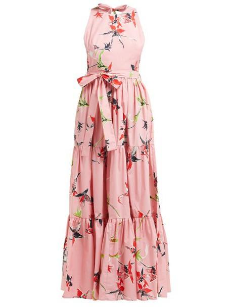 La Doublej - Pellicano American Print Cotton Poplin Maxi Dress - Womens - Pink Print