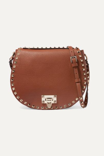 Valentino - Valentino Garavani Rockstud Small Textured-leather Shoulder Bag - Brown