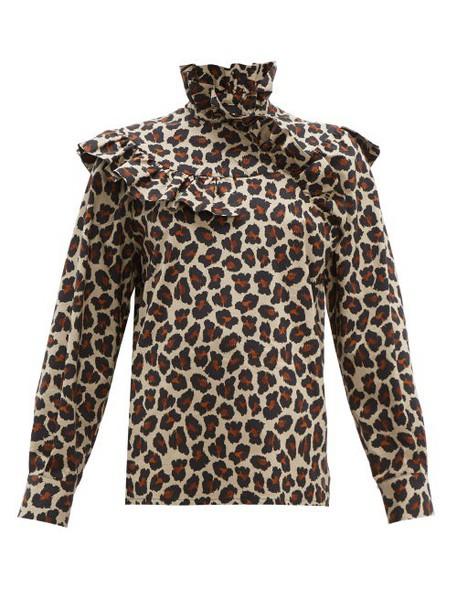 Msgm - Leopard Print Ruffle Trim Cotton Poplin Blouse - Womens - Leopard