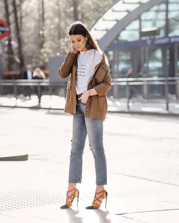 jacket high heel sandals straight jeans ripped jeans white t-shirt casual
