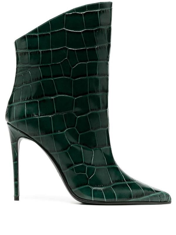 Giuliano Galiano Elise crocodile effect boots in green