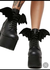 shoes,black,boots,bat,goth,platform sandals