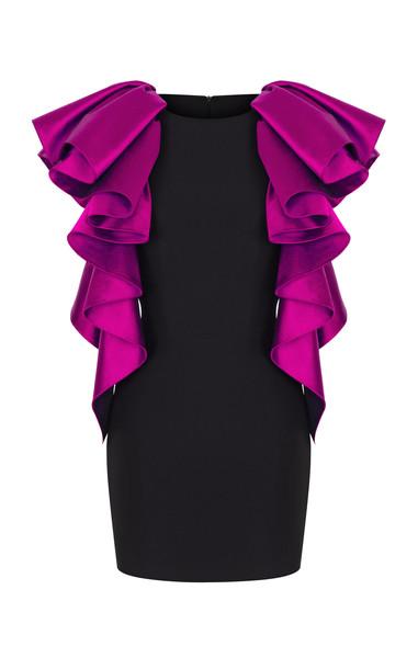 Rasario Ruffled Satin & Crepe Dress Size: 34 in fuchsia