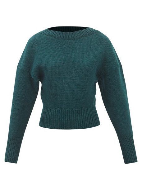 Alexander Mcqueen - Dropped-shoulder Wool-blend Sweater - Womens - Green