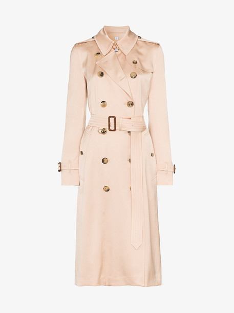 Burberry Silk Satin Trench Coat in pink
