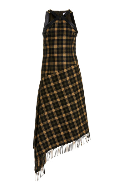 Michael Kors Collection Belted Asymmetric Wool Check Dress in multi