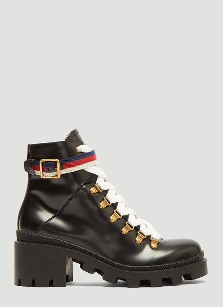 Gucci Trecking Heeled Ankle Boot in Black size EU - 40.5