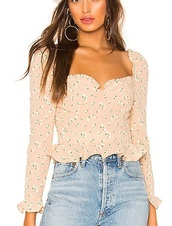 blouse,revolve,puffy sleeve,top,long sleeves,bust,boned,pink,pattern,floral,peach,crop,cropped