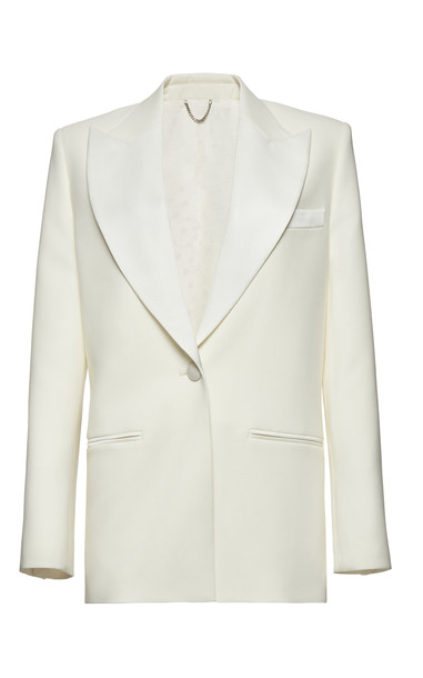 Magda Butrym Shawl Collar Wool Silk Blazer in white