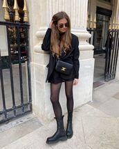 jacket,black blazer,black boots,tights,black skirt,mini skirt,black turtleneck top,black bag