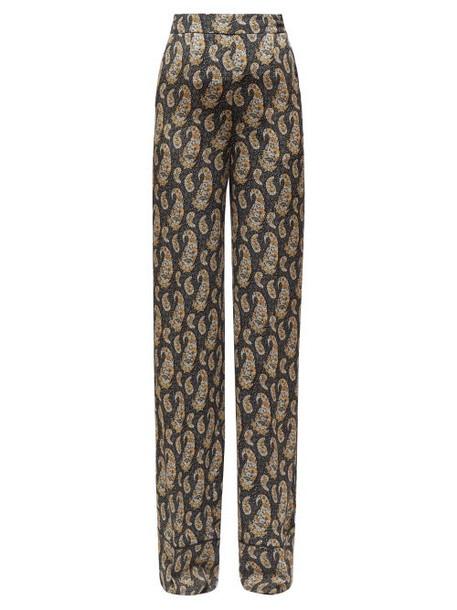 Altuzarra - Bani Wide Leg Paisley Print Georgette Trousers - Womens - Black Print