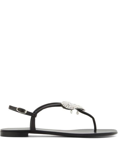 Giuseppe Zanotti Amour embellished flat sandals in black
