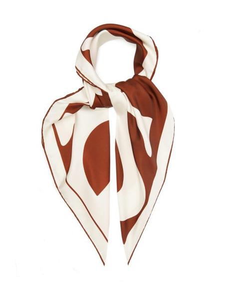 Burberry - Logo-print Mulberry-silk Scarf - Womens - Orange Multi