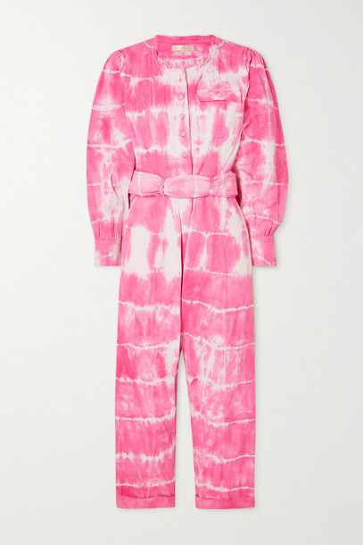 LOVESHACKFANCY - Paca Cropped Tie-dyed Cotton-twill Jumpsuit - Pink
