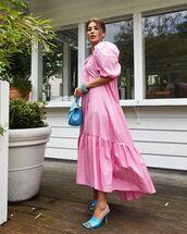 dress,pink dress,puffed sleeves,sandal heels,handbag
