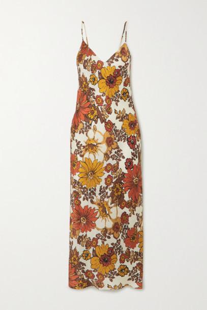Dodo Bar Or - Corinna Floral-print Silk-jacquard Midi Dress - Brown