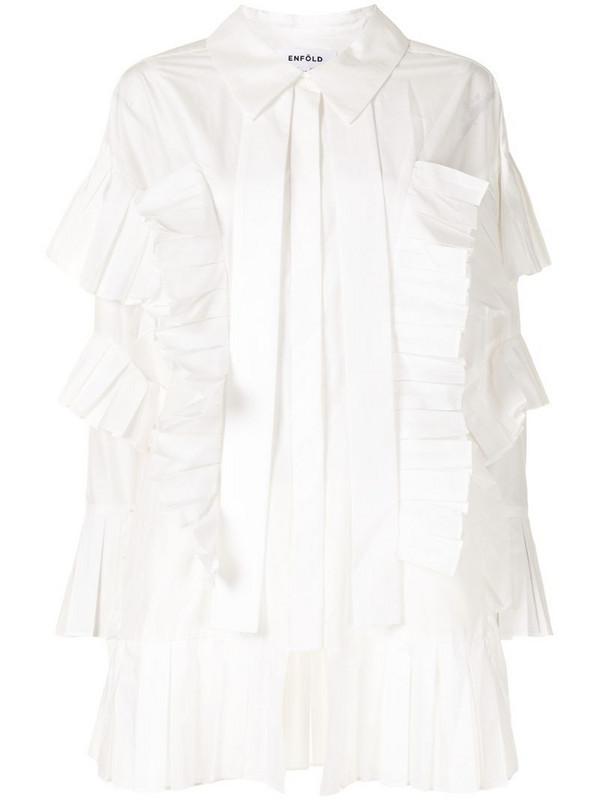 Enföld pleat-trimmed long-sleeved shirt in white