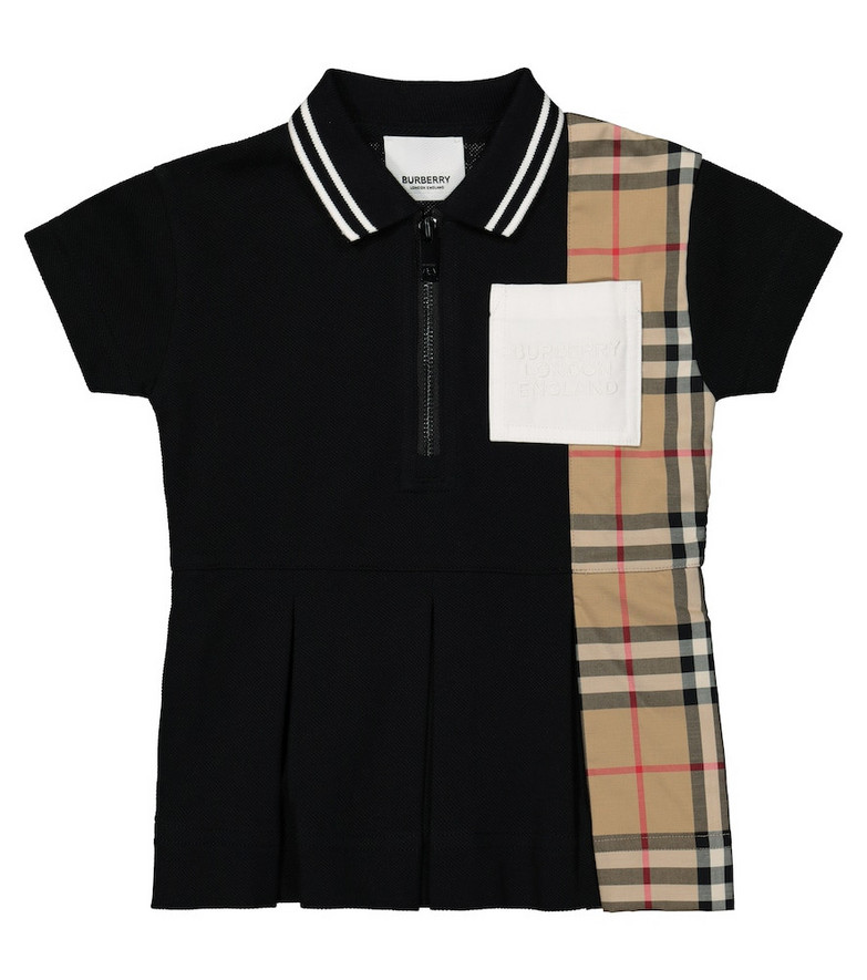 Burberry Kids Baby Vintage Check cotton polo dress in black