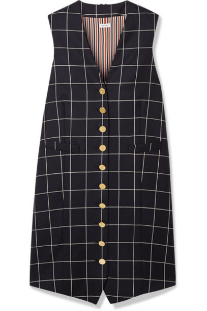 Thom Browne - Grosgrain-trimmed Checked Wool-twill Mini Dress - Navy