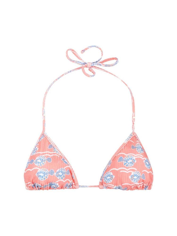 FISCH Dinzey Printed Triangle Bikini Top in blue / pink