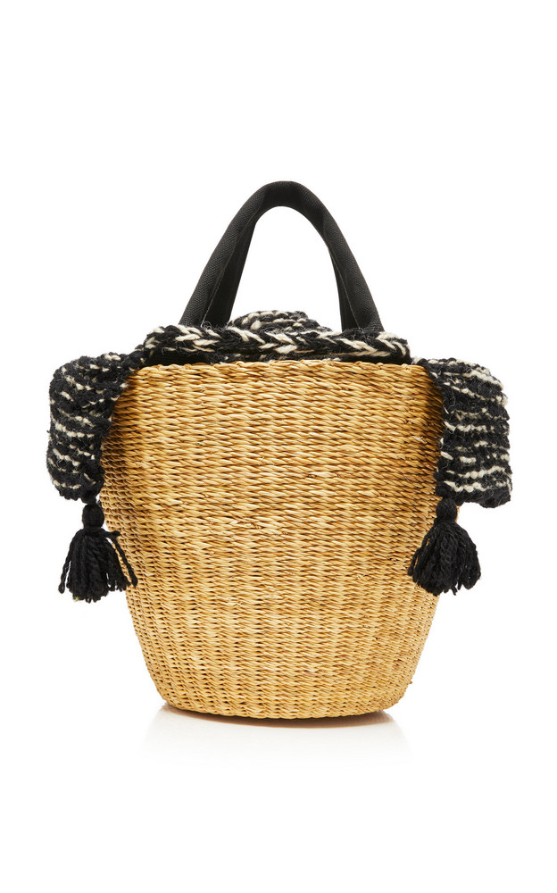 Muun Tasseled Canvas-Trimmed Crochet-Knit And Straw Tote in neutral