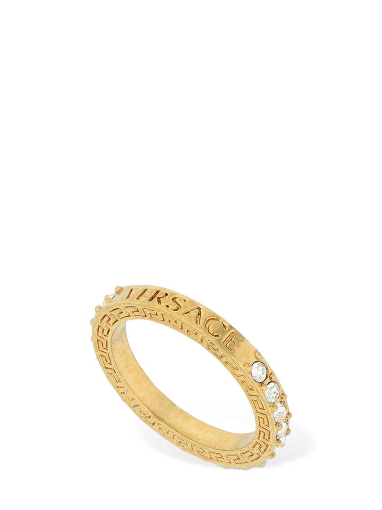 VERSACE Logo Crystal Ring in gold