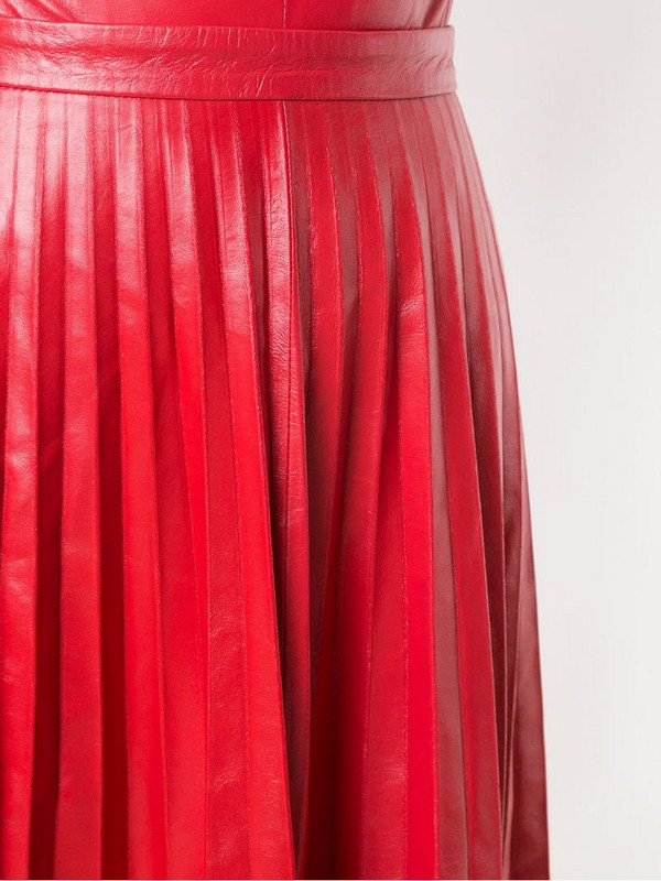 Eva leather pleated midi skirt in red