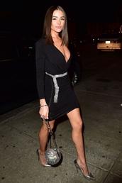 dress,mini dress,little black dress,black dress,plunge dress,blogger,pumps,olivia culpo