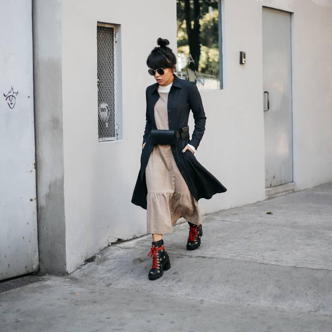 shoes lace up boots gucci leather boots midi dress shirt long black bag belt bag