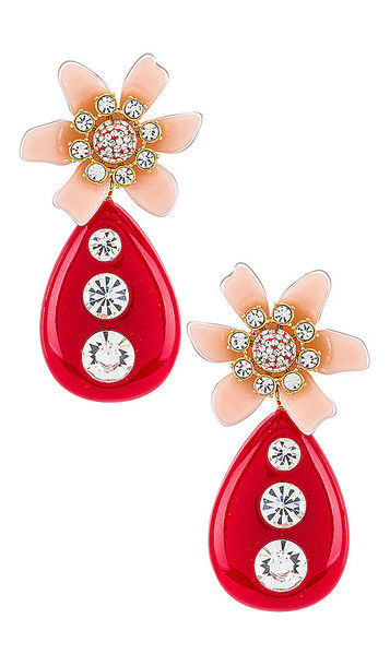 Lele Sadoughi Flower Bulb Earrings in Red in peach