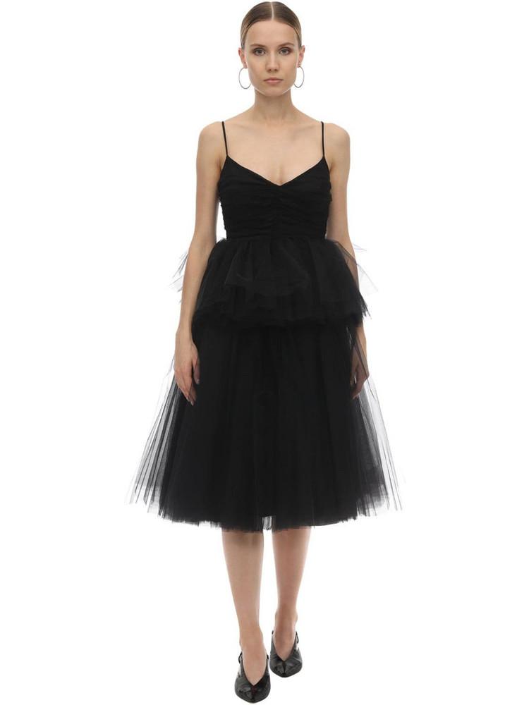 BROGNANO Layered Tulle Midi Dress in black