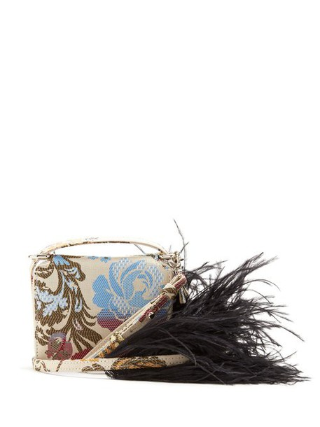 Marques'almeida - Feather Strap Floral Jacquard Cross Body Bag - Womens - White Multi