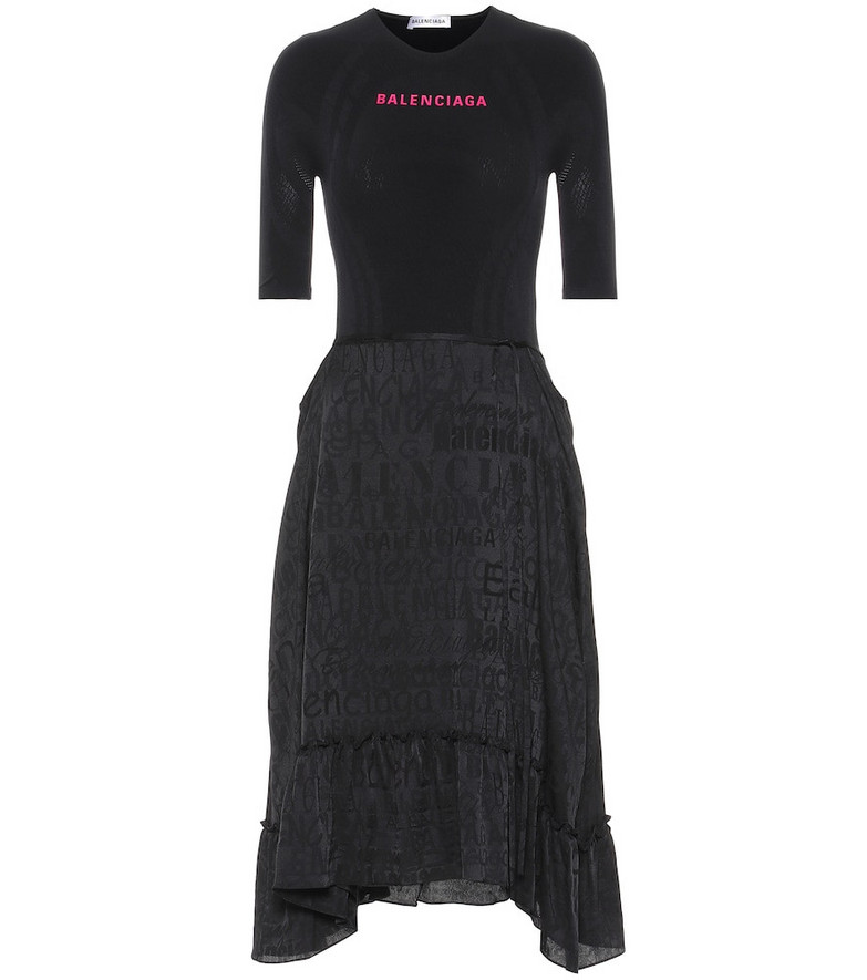 Balenciaga Asymmetric jersey midi dress in black