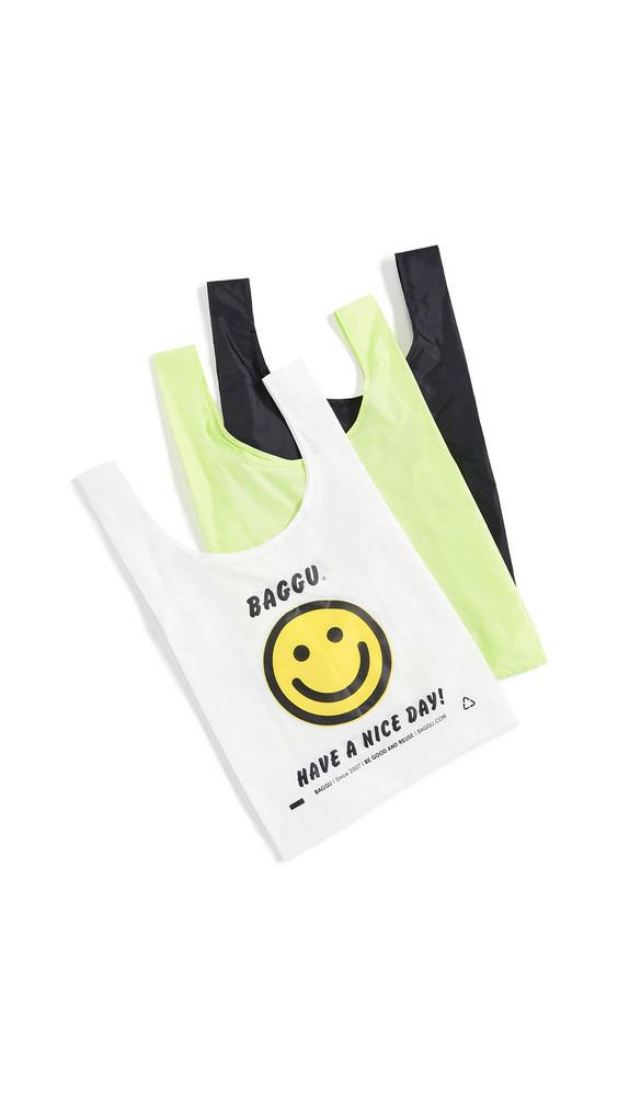 BAGGU Standard Packable Bag Triple Set in black