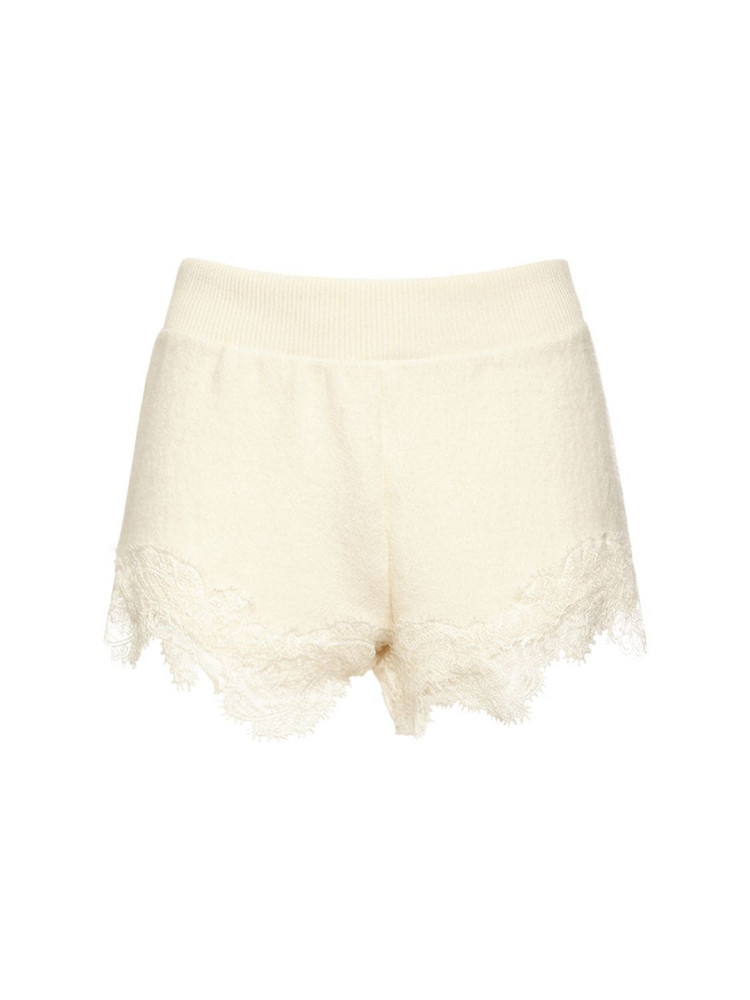 ERMANNO SCERVINO Wool Knit Mini Shorts W/ Lace in white