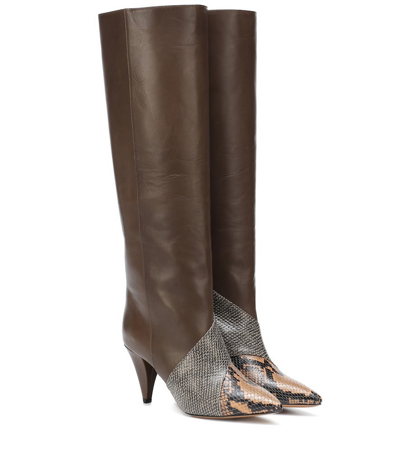 Isabel Marant Laomi snake-effect leather boots in brown
